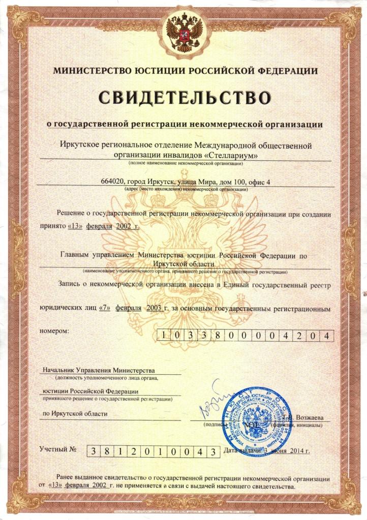 Свидетельство о гос. регистрации некоммерческой организации